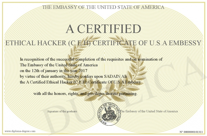 A Certified Ethical Hacker Ceh Certificate Of Usa Embessy