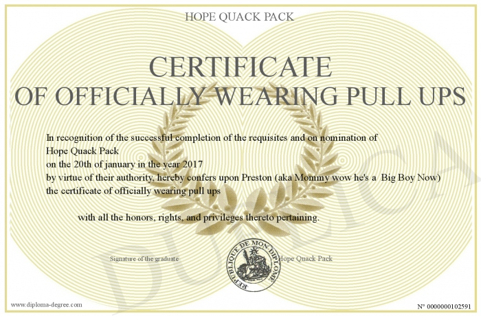 certificate of officially wearing pull ups