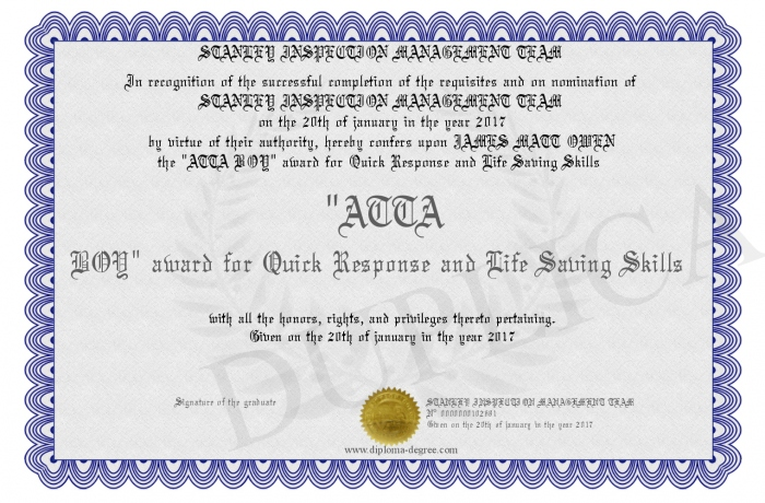 life saving award certificate template - atta boy award for quick response and life saving skills