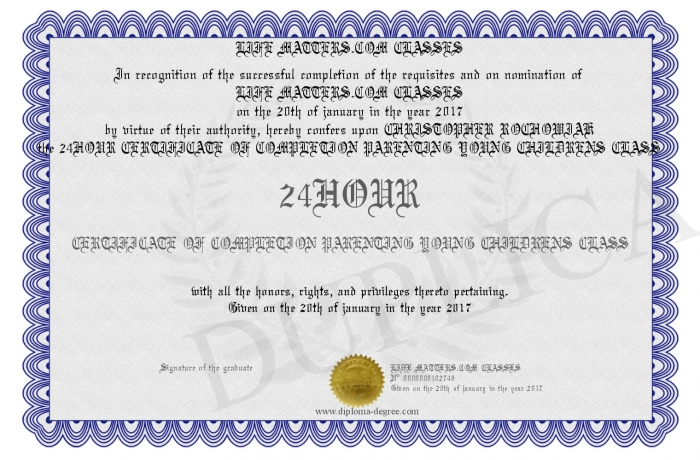 24hour Certificate Of Completion Parenting Young Childrens Class