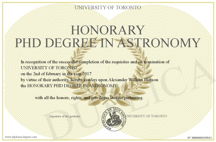 Honorary Phd Degree In Astronomy