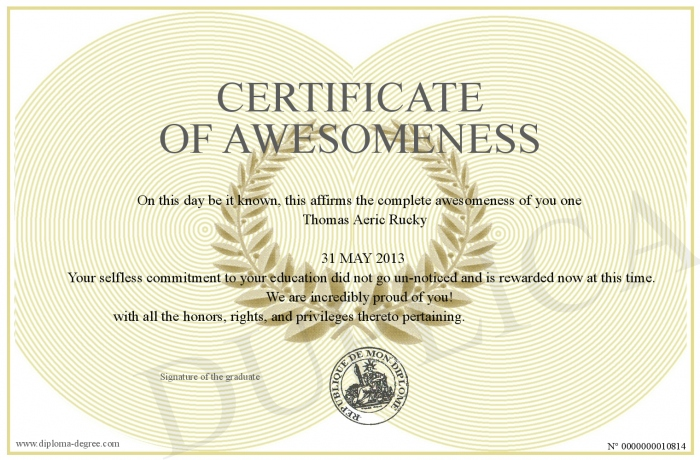 Certificate of awesomeness for Certificate of awesomeness