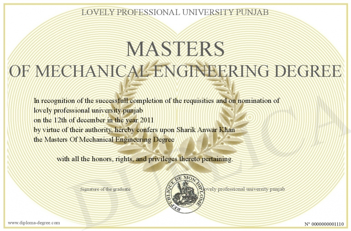 masters  mechanical engineering degree