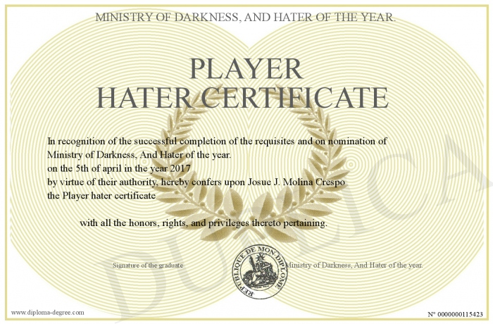 player hater certificate