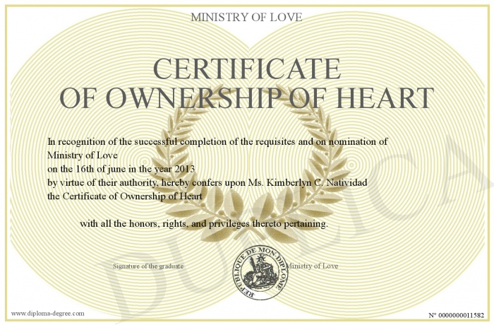 Certificate-of-Ownership-of-Heart