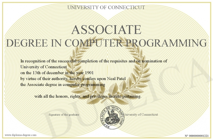 Associate degree in computer programming