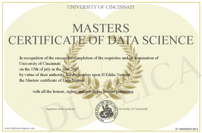 Masters Certificate Of Data Science