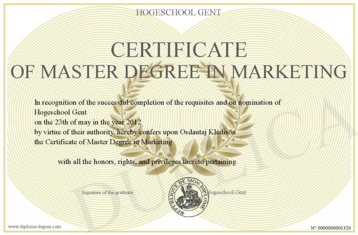 Certificate Of Master Degree In Marketing