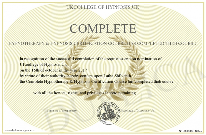 Complete Hypnotherapy Hypnosis Certification Course Has Completed