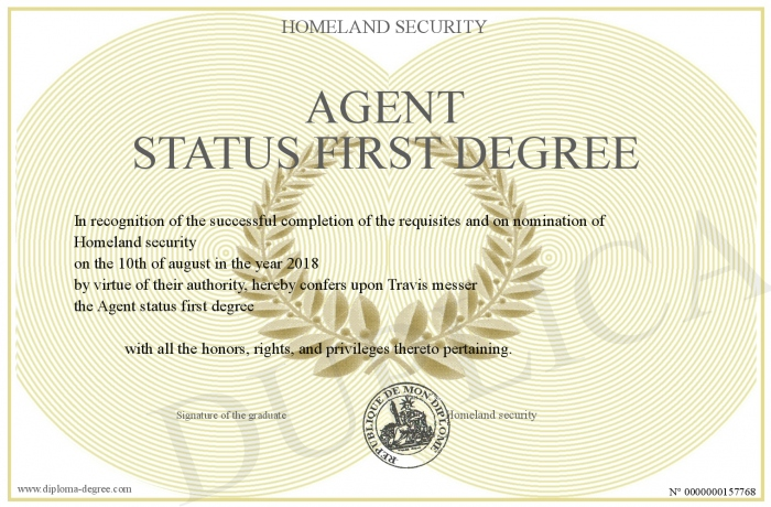 Homeland Security Degree >> Agent Status First Degree