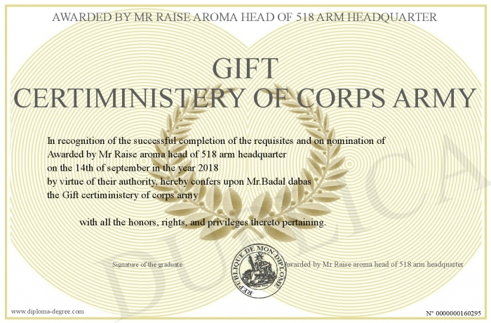 Gift-certiministery-of-corps-army