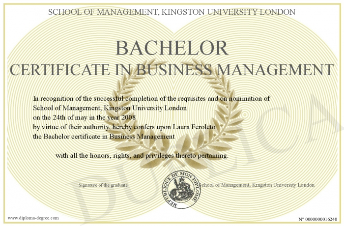 Bachelor Certificate In Business Management