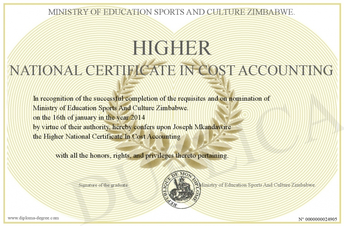 Higher National Certificate In Cost Accounting