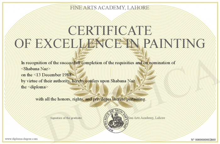Certificate Of Excellence In Painting