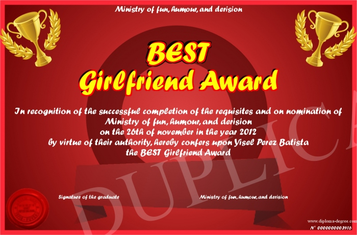 best girlfriend award certificate