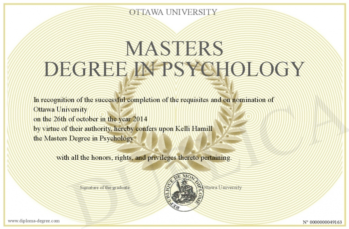 Degree In Psychology >> Masters Degree In Psychology