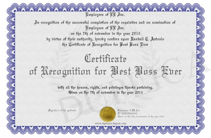 certificate of recognition for best boss ever
