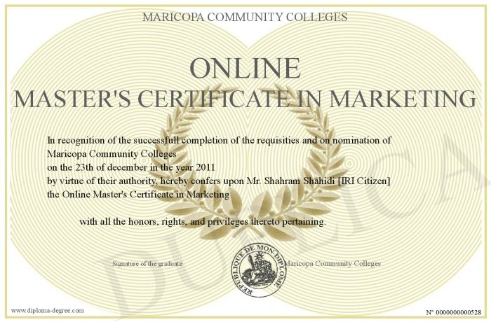 Online Master S Certificate In Marketing