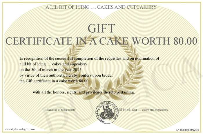 gift certificate in a cake worth 80 00