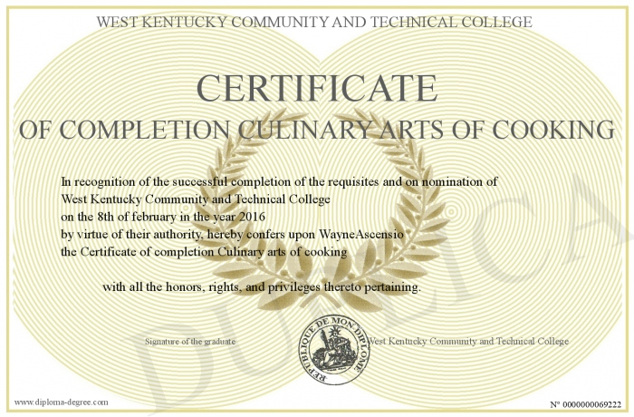 Certificate of completion Culinary arts of cooking