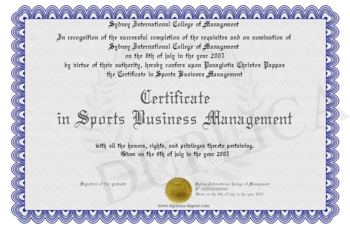 Certificate In Sports Business Management