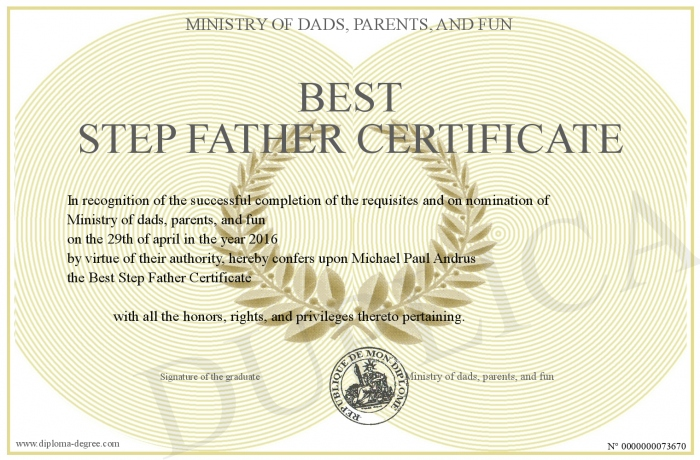Best Step Father Certificate
