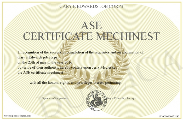 Ase Certificate Mechinest