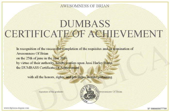 Dumbass-Certificate-Of-Achievement