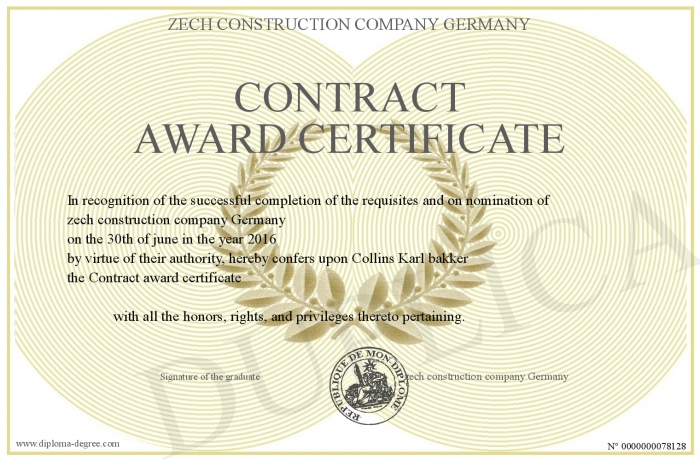 ContractAwardCertificate
