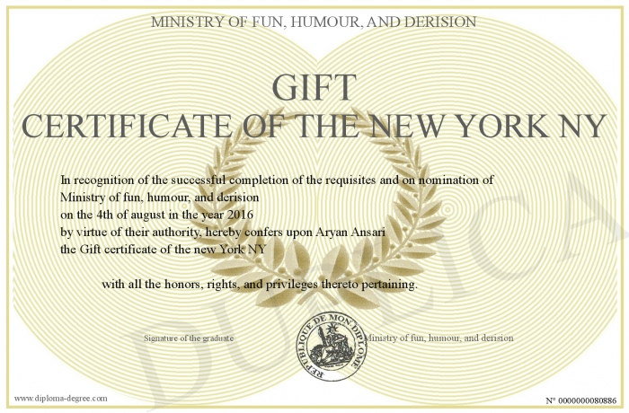 Gift Certificate Of The New York Ny