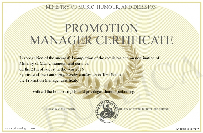 promotion manager certificate