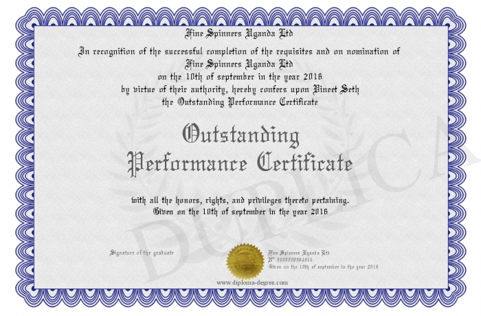certificate of outstanding performance