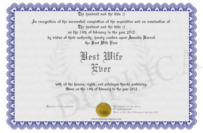 Pics photos worlds best wife certificate by misspowerpoint