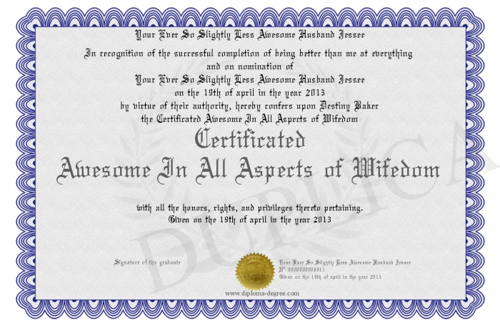 Certificated Awesome In All Aspects Of Wifedom