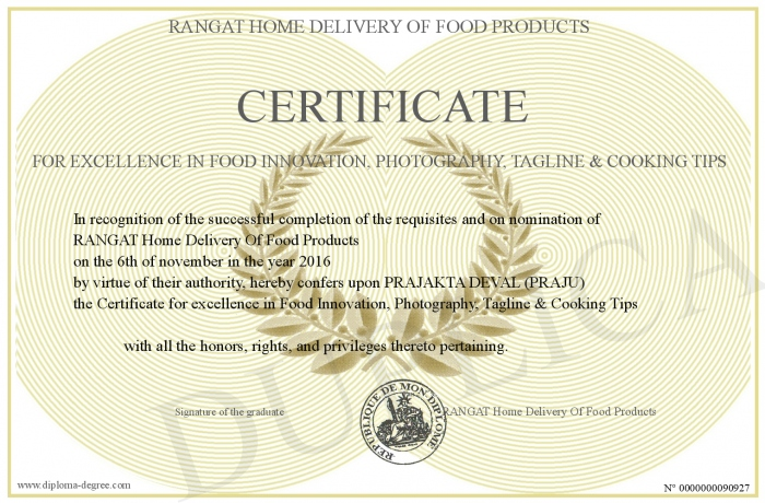 Certificate-for-excellence-in-Food-Innovation--Photography--Tagline ...