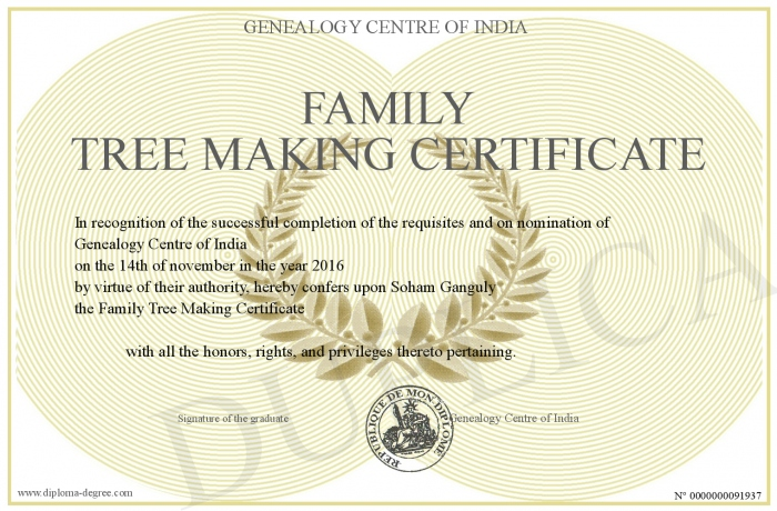 family tree making certificate